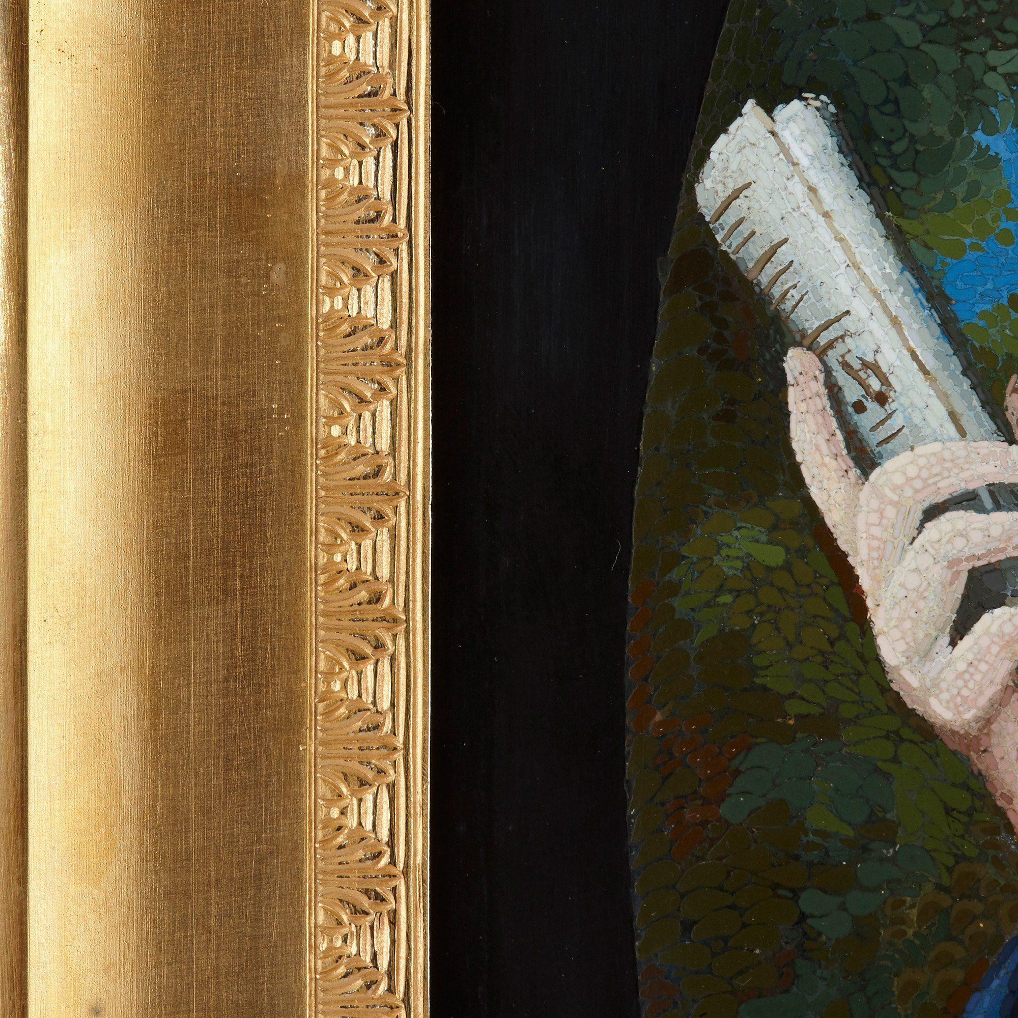Antique Baroque style Italian micromosaic portrait panel