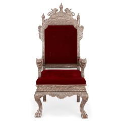 Throne Chair Cover Gaming Ottoman Indian Silver With Burgundy Red Upholstery Mayfair Gallery