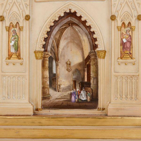 Antique Gothic Revival Dagoty And Honore Porcelain Mantel