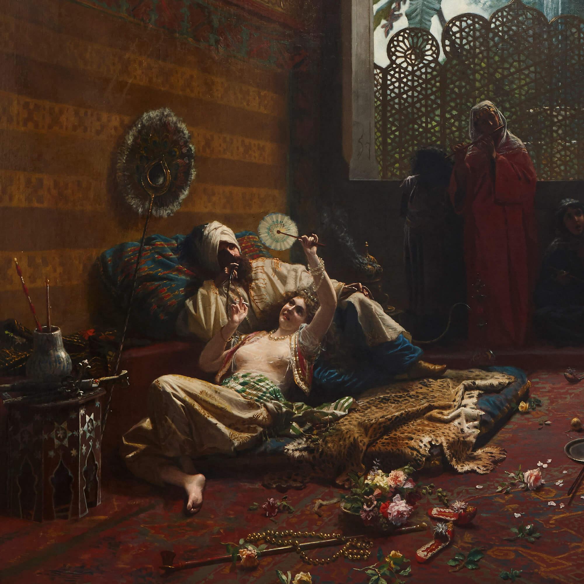 Large Italian Orientalist harem painting by Mantegazza