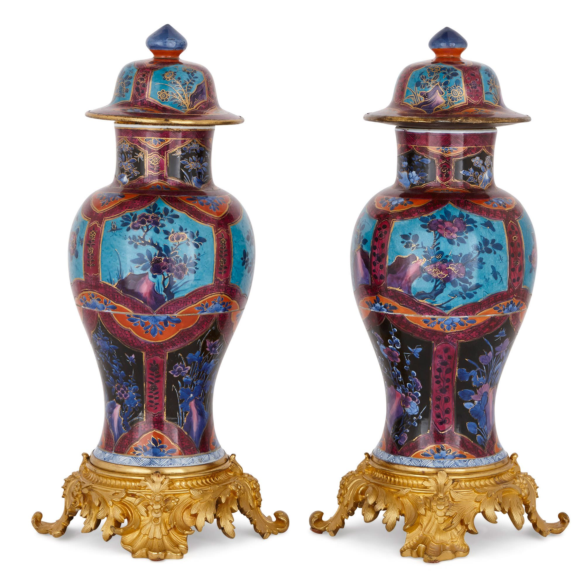 Pair Of Chinese Qing Dynasty Porcelain And Ormolu Vases