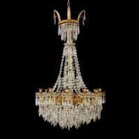 Empire style French ormolu and crystal antique chandelier ...