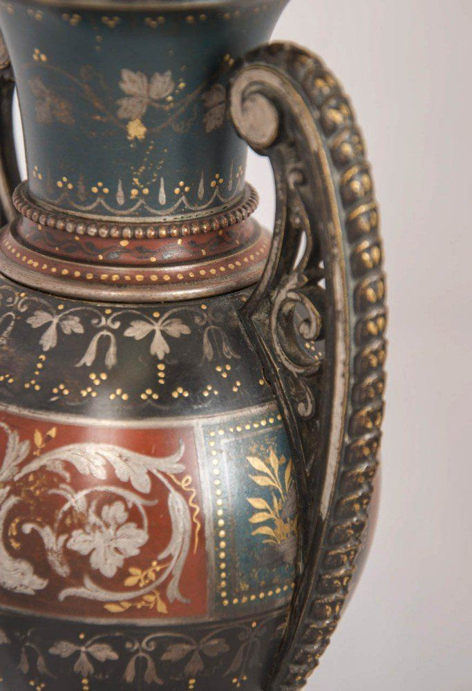 Pair of silver and gold inlaid antique brass vases