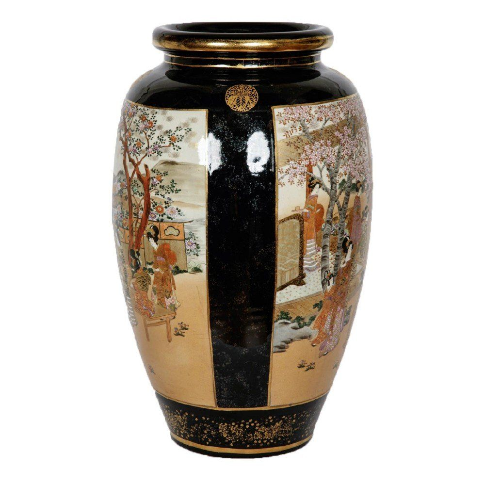 Japanese antique Satsuma porcelain Meiji period vase