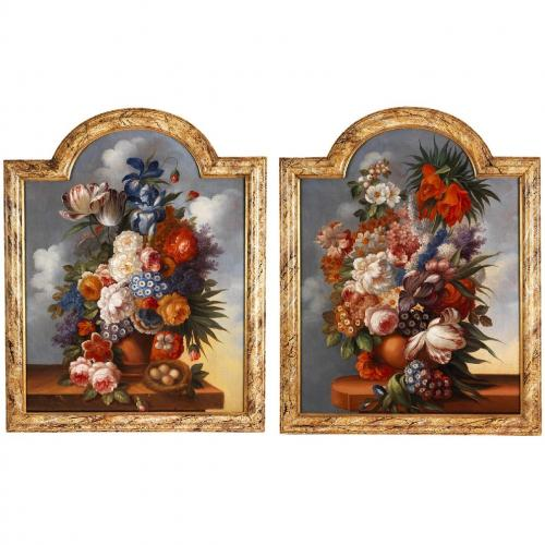 Pair of floral still life antique oil paintings  Mayfair