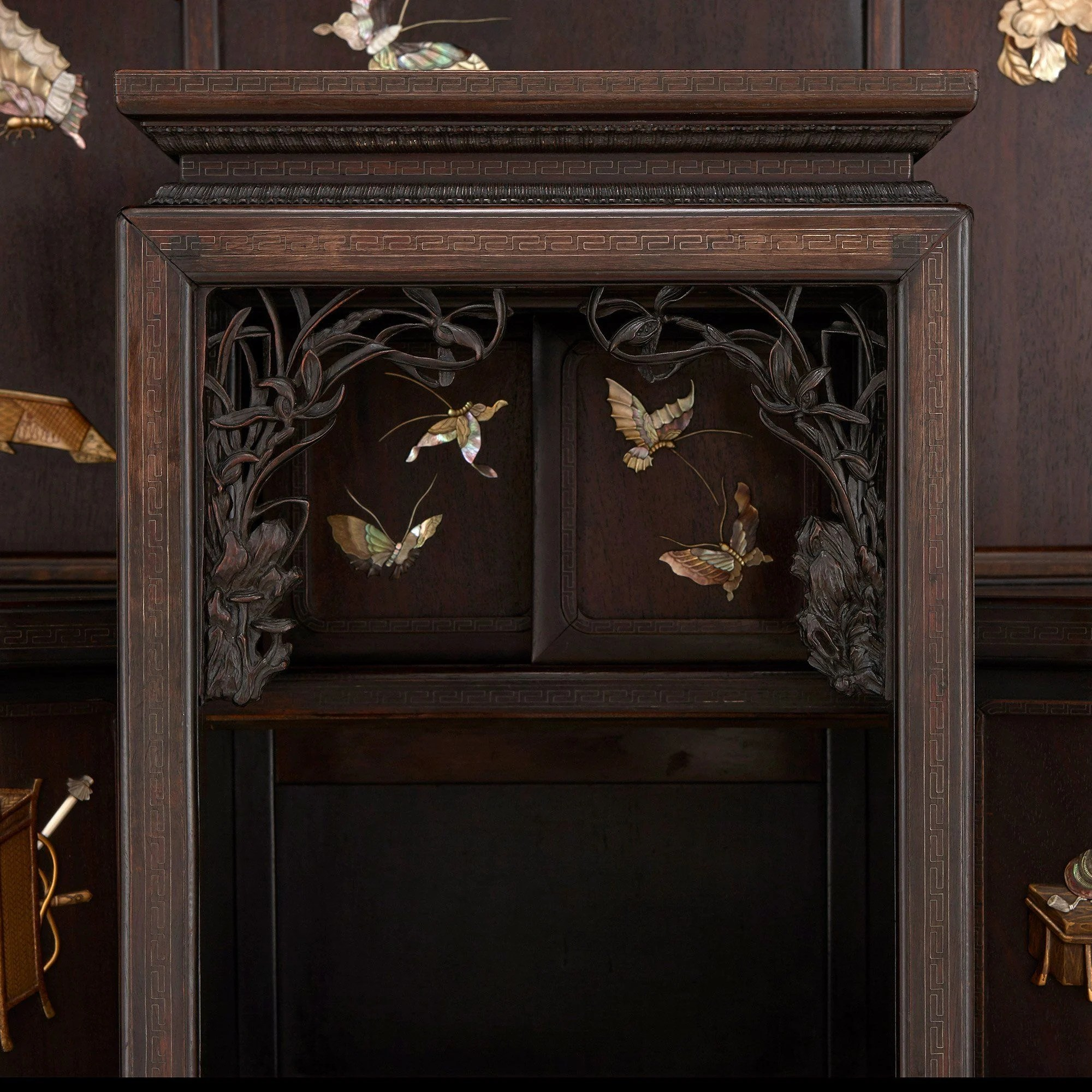 Japanese ivory and motherofpearl inlaid hardwood cabinet