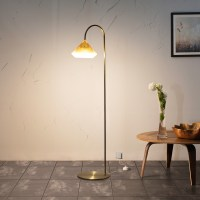 Carmen Curved LED Floor Lamp with Bluetooth Speaker, Brass