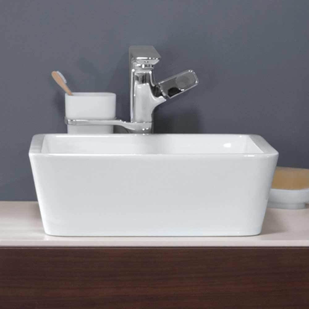 16 stage square ceramic above counter vessel sink without overflow in white