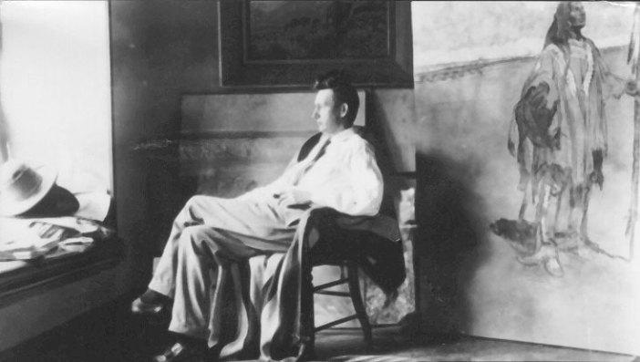 Maynard Dixon Photographs Maynard Dixon in Studio 1920