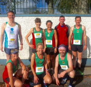 Soaking up the pre race sun at Costa del Shannonside: back - James, Pauline, Siobhan, Brendan, Ambrose; front - Monica, Ann, John