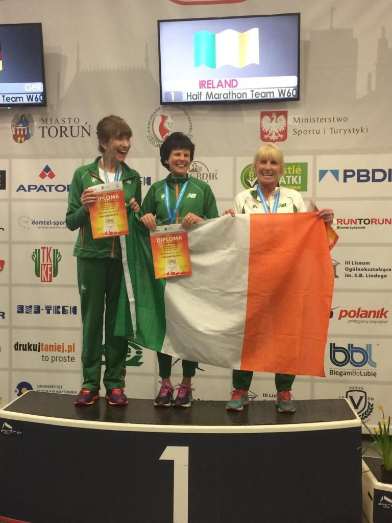 Masters W60 Half Marathon gold: Pauline, Noreen and Nuala on top of the world