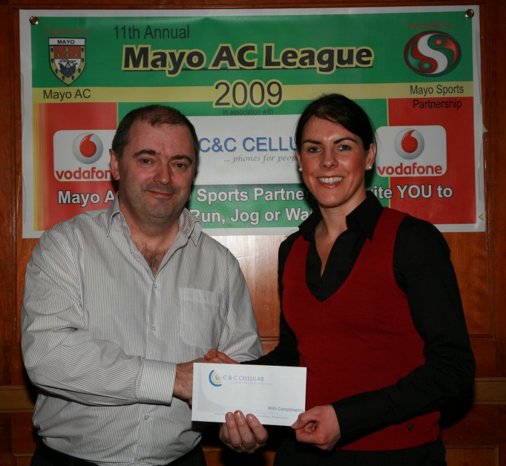 Mayo AC League 2009 Brendan Chambers (C&C Cellular sponsors) presents Mary Gleeson with her prize