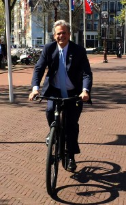 on an electric bike in Amsterdam