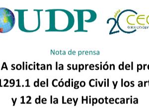 UDP y CEOMA solicitan la supresión del proyecto de los artículos 259, 1291.1 del Código Civil y los artículos 165,168 y 12 de la Ley Hipotecaria