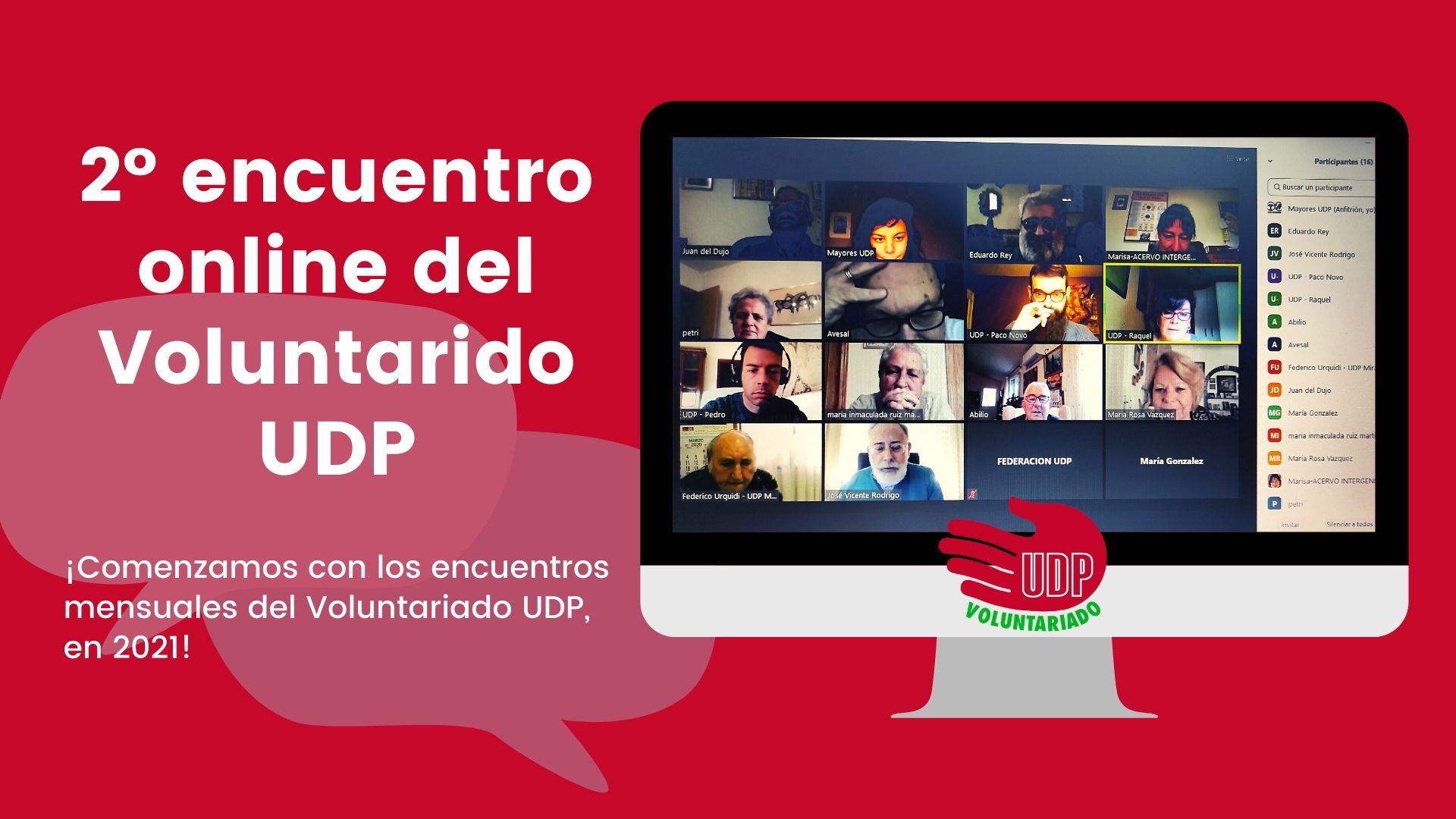 Segundo encuentro virtual del Voluntariado UDP