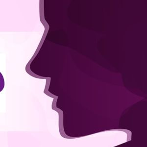 Ilustración de una mujer en color morado más el logotipo de la Fundación 26D