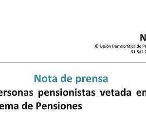 reforma de pensiones: veto a las entidades de personas mayores