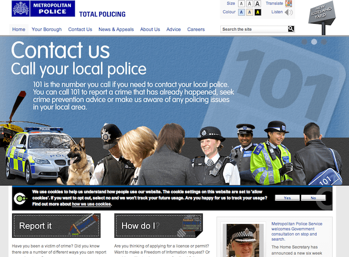 Stop & Search – the Met's new website seems a little off-message