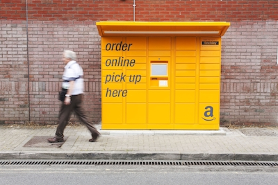 Amazon lockers at Finchley Central Tube, London. Image: Joel Chant / Amazon.co.uk Ltd