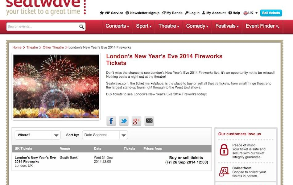 Re-sale sites promoting fireworks tickets 24 hours before official release