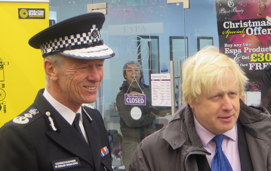 Boris Johnson with Met Commissioner Sir Bernard Hogan-Howe
