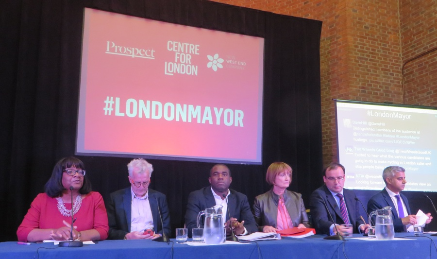 Labour mayoral hopefuls Diane Abbott, Christian Wolmar, David Lammy, Tessa Jowell, Gareth Thomas and Sadiq Khan