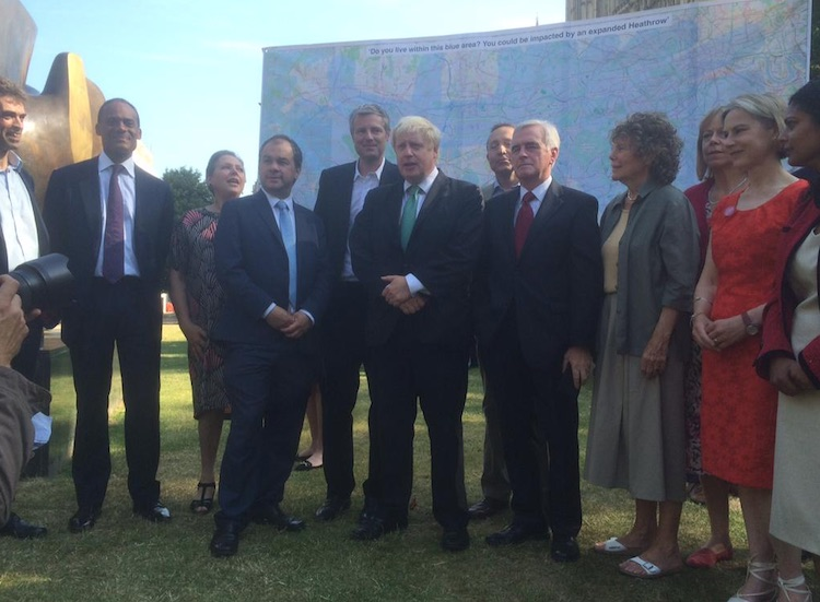Mayor Boris  Johnson joins MPs opposed to the expansion of Heathrow Airport. Image: Mayor's Press Office.