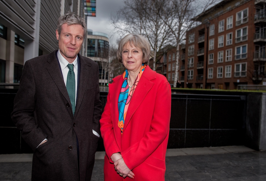 Conservative Mayoral Candidate Zac Goldsmith with the Home Secretary Theresa May outside the Home Office in London . Picture by Andrew Parsons / i-Images