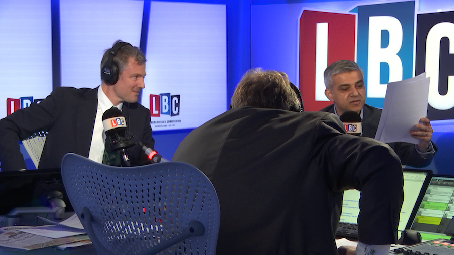 Zac Goldsmith and Sadiq Khan with LBC host Nick Ferrari (centre).