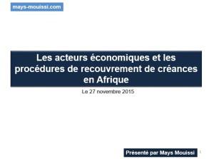 Recouvrement des créances en Afrique OHADA
