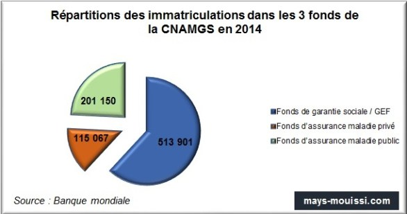 Répartitions des immatriculations dans les 3 fonds de la CNAMGS en 2014