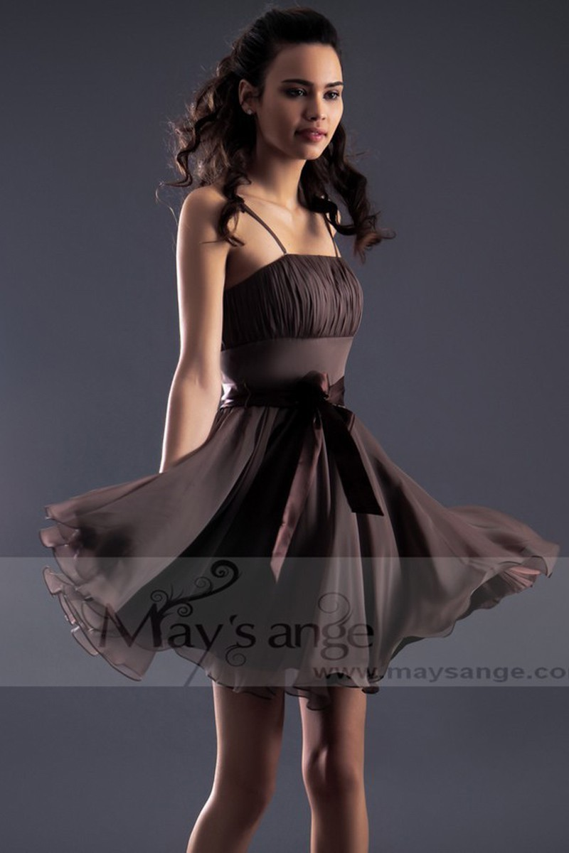 Brown Semi Formal Party Dress With Spaghetti Straps