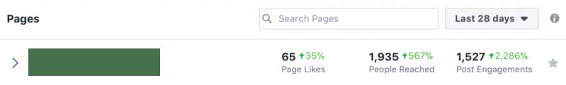 Facebook organic results