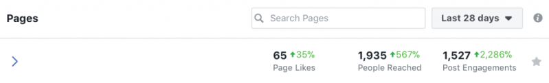 Facebook organic results