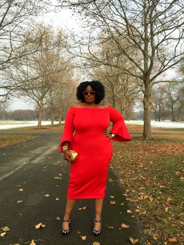 red-plus-size-off-the-shoulder-flare-sleeve-dress