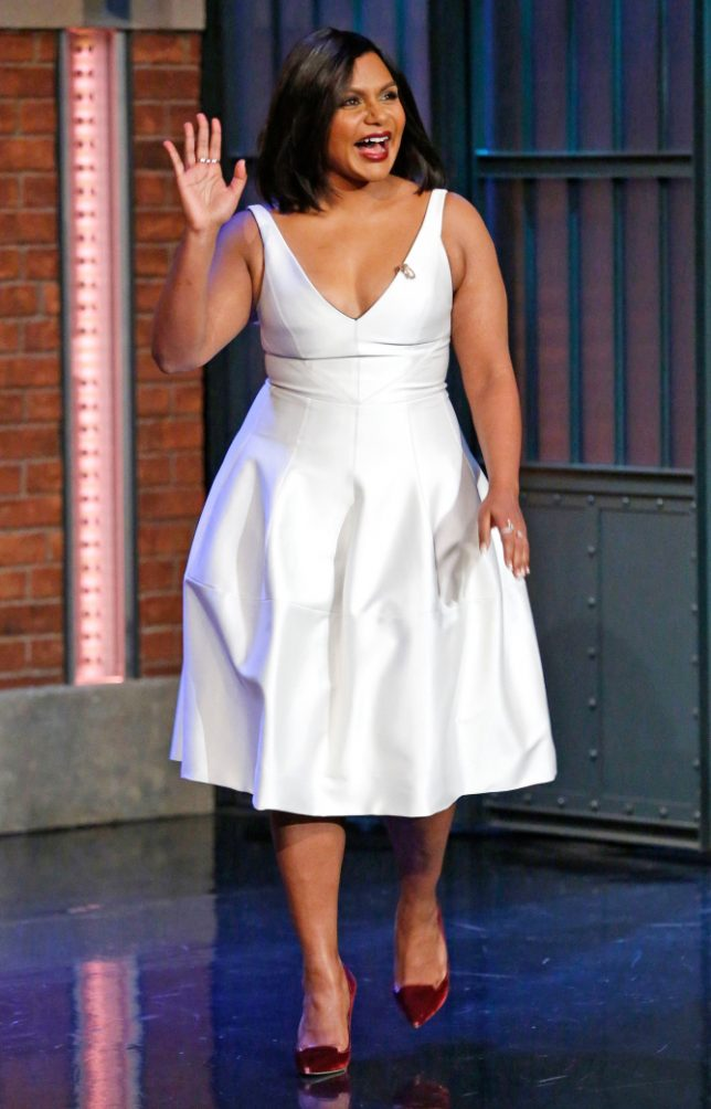 LATE NIGHT WITH SETH MEYERS -- Episode 462 -- Pictured: Actress Mindy Kaling arrives on December 14, 2016 -- (Photo by: Lloyd Bishop/NBC/NBCU Photo Bank via Getty Images)