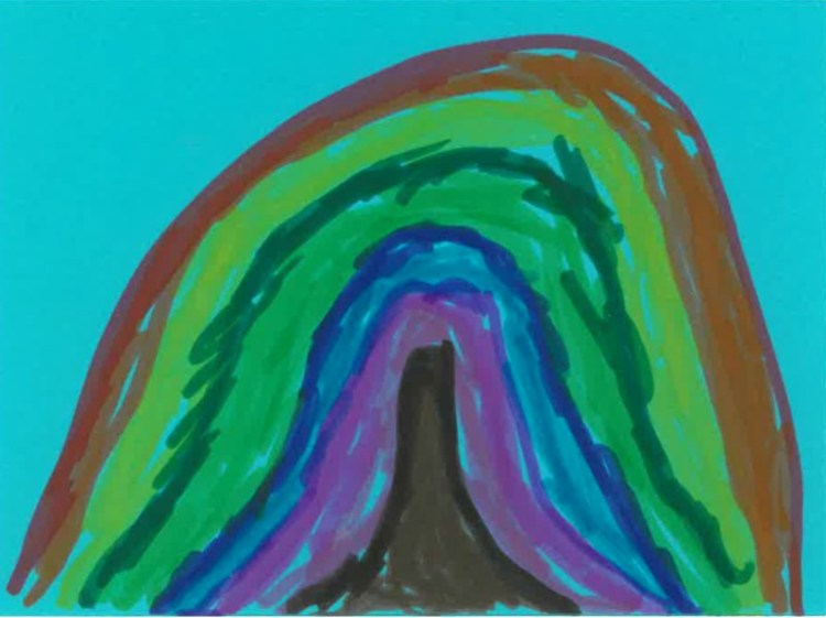 a rainbow drawn on a blue card