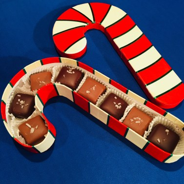 Kakao Milk & Dark Chocolate Sea Salt Caramels in Candy Cane box