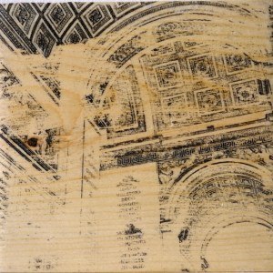 Distressed print of the underside of the Arc de Triomphe in Paris
