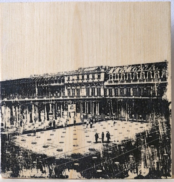 Handmade wood print of the Palais Royale courtyard, Paris, France