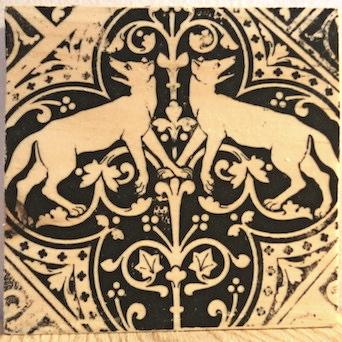 renaissance wolves, sainte chapelle, paris france, medieval tiles, religious iconography, circles and geometric designs, inlaid inlay floor tiles