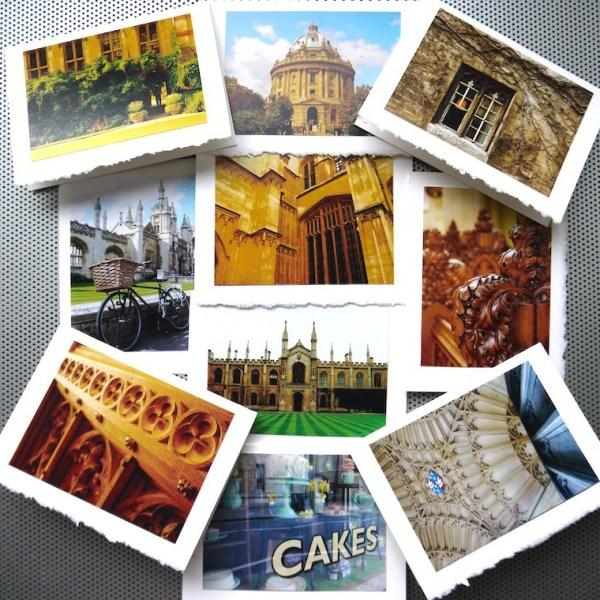 Oxford and Cambridge University announcement card set