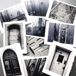 Black and white door announcement card set