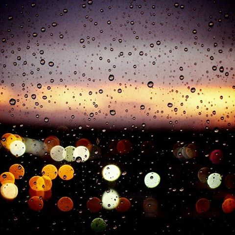 Rainy window sunset in Scarborough, Canada