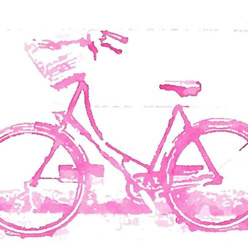 Pink bicycle painted by Waterlogue app