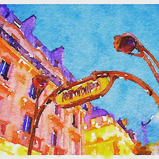 St Michel Paris Metro station painted by Waterlogue
