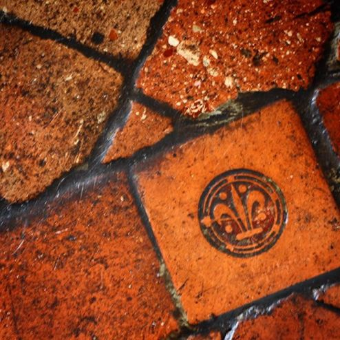 Fleur de lys tile, flower of lis terracotta, Chenonceau castle, Loire Valley, France
