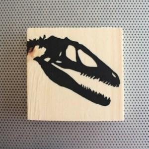 Velociraptor skull dinosaur bones silhouette from Toronto Canada