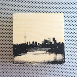 toronto islands, toronto harbour, leslie street spit, tommy thomson thompson park, toronto silhouette, toronto islands view, toronto harbour, city silhouette, cn tower, bathurst street bridge, toronto skyline, the 6ix silhouette, view from toronto islands, cn tower and downtown, lake ontario vista, wood block artwork, photo transfer, black and white, desk or wall art