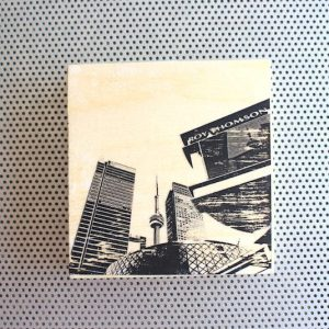 roy thomson thompson hall, toronto silhouette, toronto islands view, toronto harbour, city silhouette, cn tower, bathurst street bridge, toronto skyline, the 6ix silhouette, view from toronto islands, cn tower and downtown, lake ontario vista, wood block artwork, photo transfer, black and white, desk or wall art